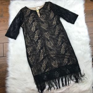 Dresses & Skirts - Black and nude dress fringe large gold